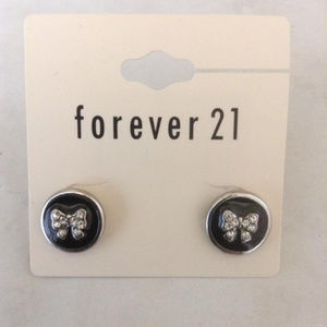 New Black Round Bow Earrings Studs